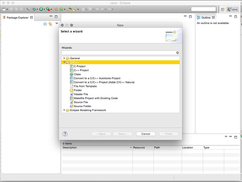 Testando se o ambiente está pronto para iniciar instalações, criando um projeto C/C++