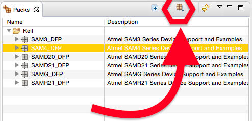 Baixando o pacote SAM4 DFP para ATmel.