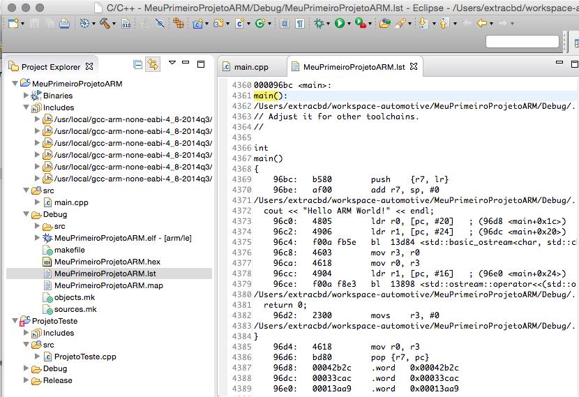 Resultado final já com arquivo do código assembly gerado.