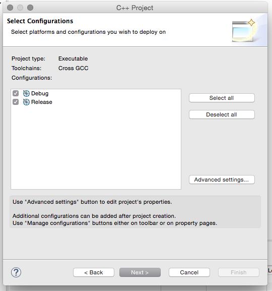 Nesta janela você pode escolher as formas de compilação disponibilizada com referência pelo Eclipse CDT, Debug e Release, em um artigo futuro iremos discutir sobre isso.