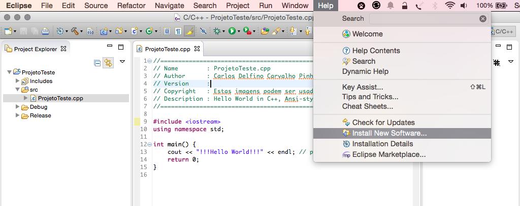 Selecionando o menu de instalação de novos Softwares