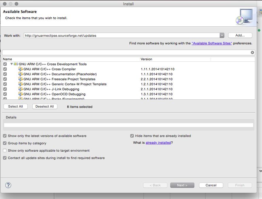 Tela de instalação de atualizações e novos plugins
